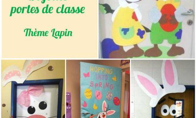 Les décorations de porte de classe  pour Pâques – Thème lapin