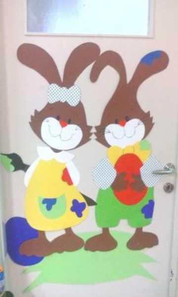 Photo 11 1 Pâques décoration de porte de classe lapin - Ma Folie Des Fêtes