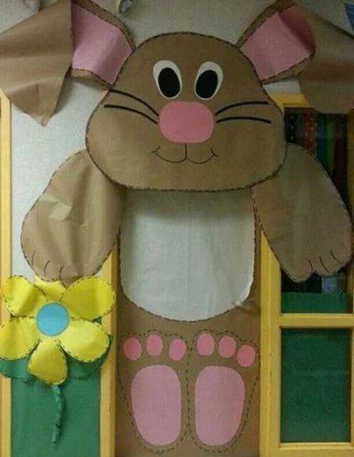 Photo 2 Pâques décoration de porte de classe lapin - Ma Folie Des Fêtes