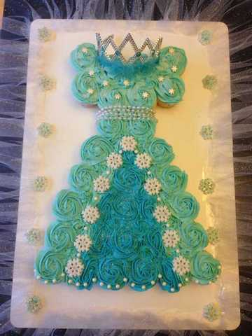 Gateau cupcakes Robe princesse Reine des neiges