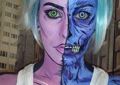 Maquillage de Zombie Pop art au double visage (CatersNewsAgency)