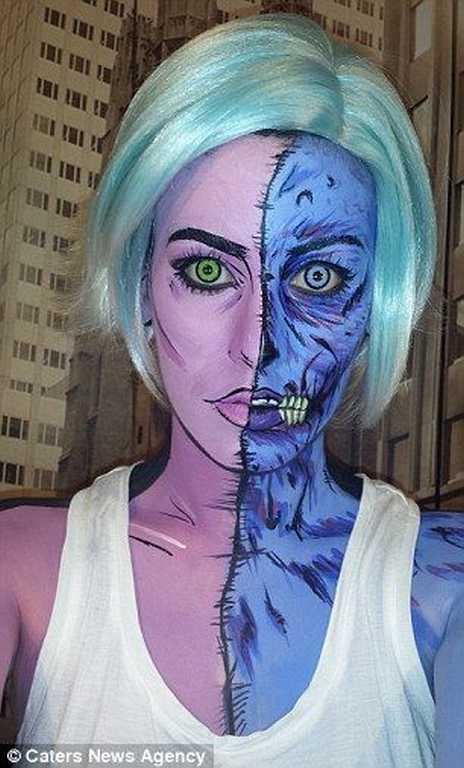 le maquillage de zombie pop art double visage id es et. Black Bedroom Furniture Sets. Home Design Ideas