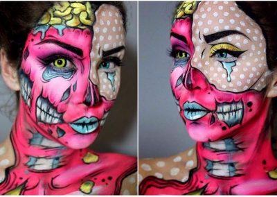 Maquillage de Zombie Pop art au double visage (Elie35x-1)