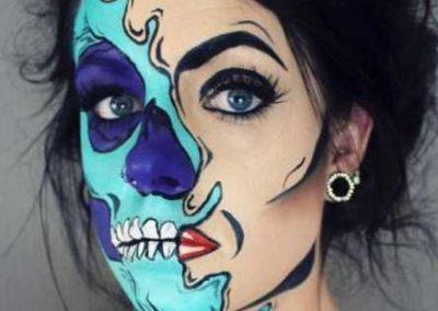 Maquillage de Zombie Pop art au double visage (Kolleen)