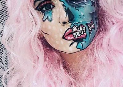 Maquillage de Zombie Pop art au double visage (Makeupbymartine)