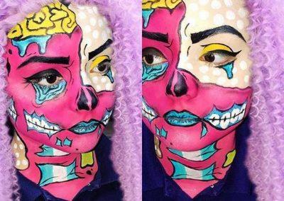 Maquillage de Zombie Pop art au double visage (Pinterest)
