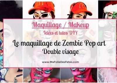 ★ Le maquillage de Zombie Pop art Double visage : Idées et tutos makeup ★