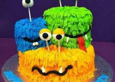 Gâteau monstre rigolo décoration poche à douille - (19)