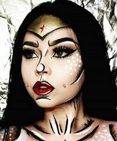 Idée Maquillage Pop Art de Wonder Woman (14) - Ma Folie Des Fêtes
