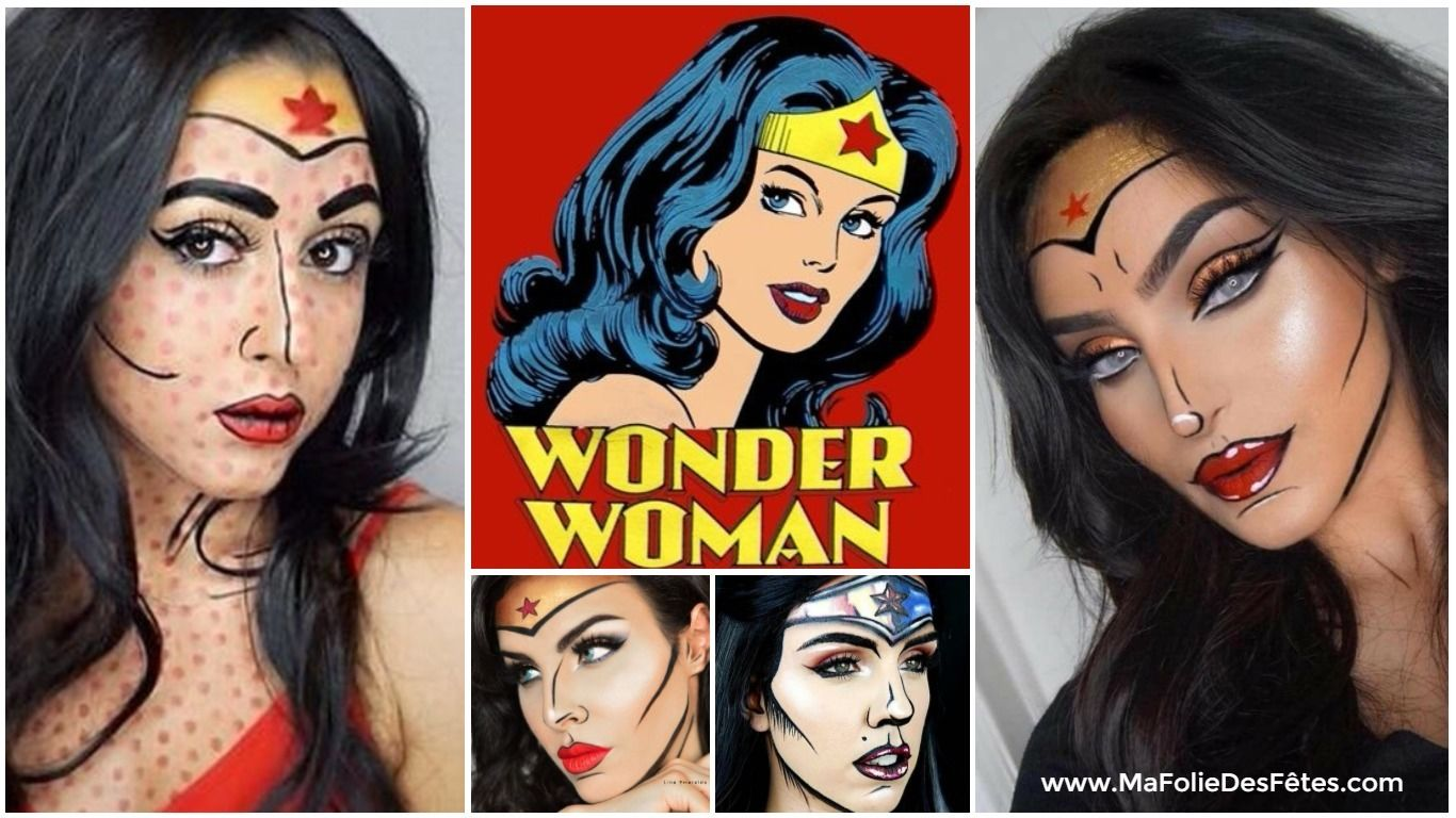 Idees Tutos Maquillage Pop Art de Wonder Woman - Ma Folie Des Fetes