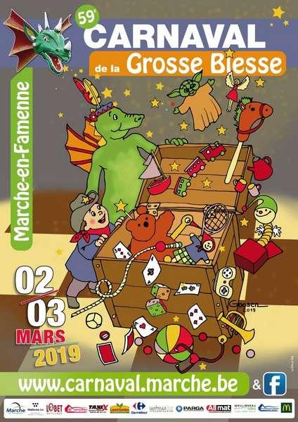 Carnaval de la Grosse Biesse Marche-en-Famenne Affiche 2019 - Ma Folie Des Fetes