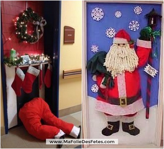Décoration Portes de classe Père Noël 2D 3D - Ma Folie Des Fêtes