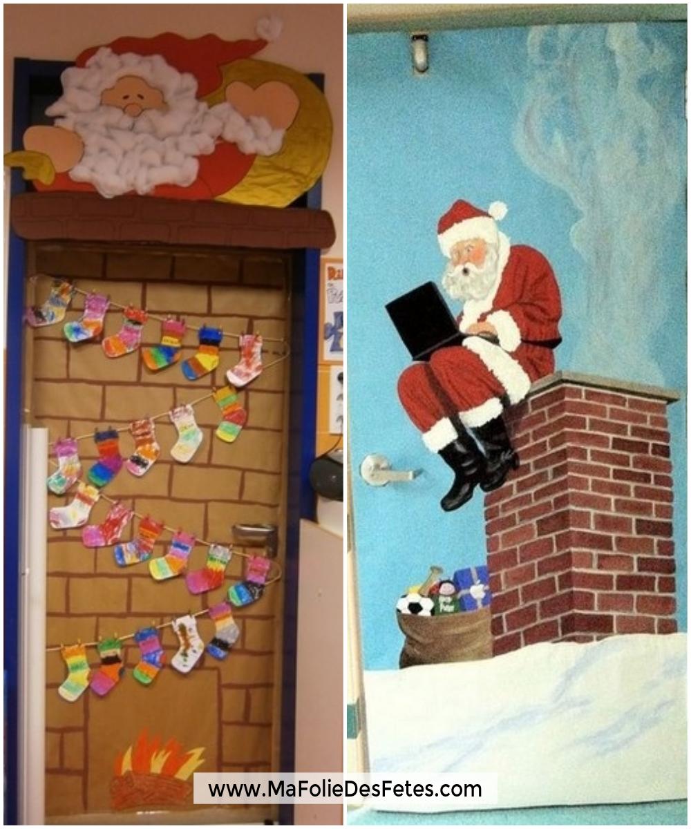 Décoration Portes de classe Père Noël cheminée - Ma Folie Des Fetes