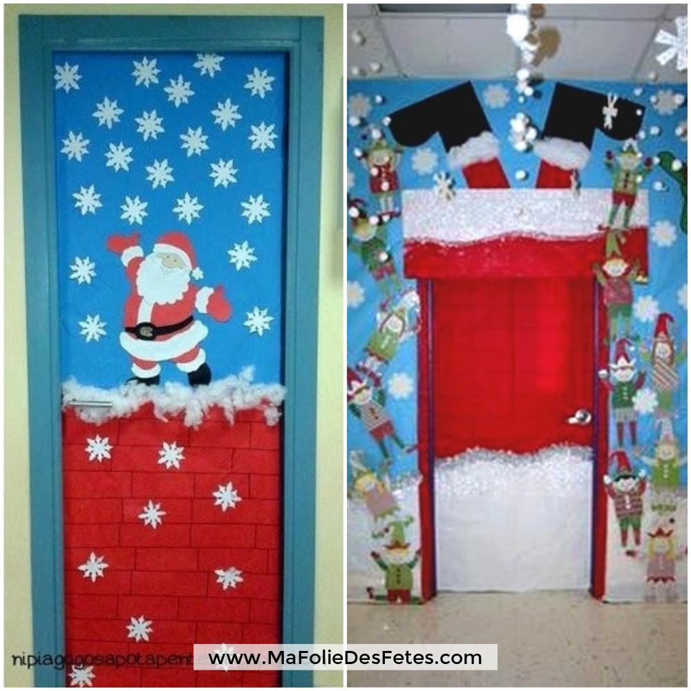 Décoration Portes de classe Père Noël et cheminée - Ma Folie Des Fetes