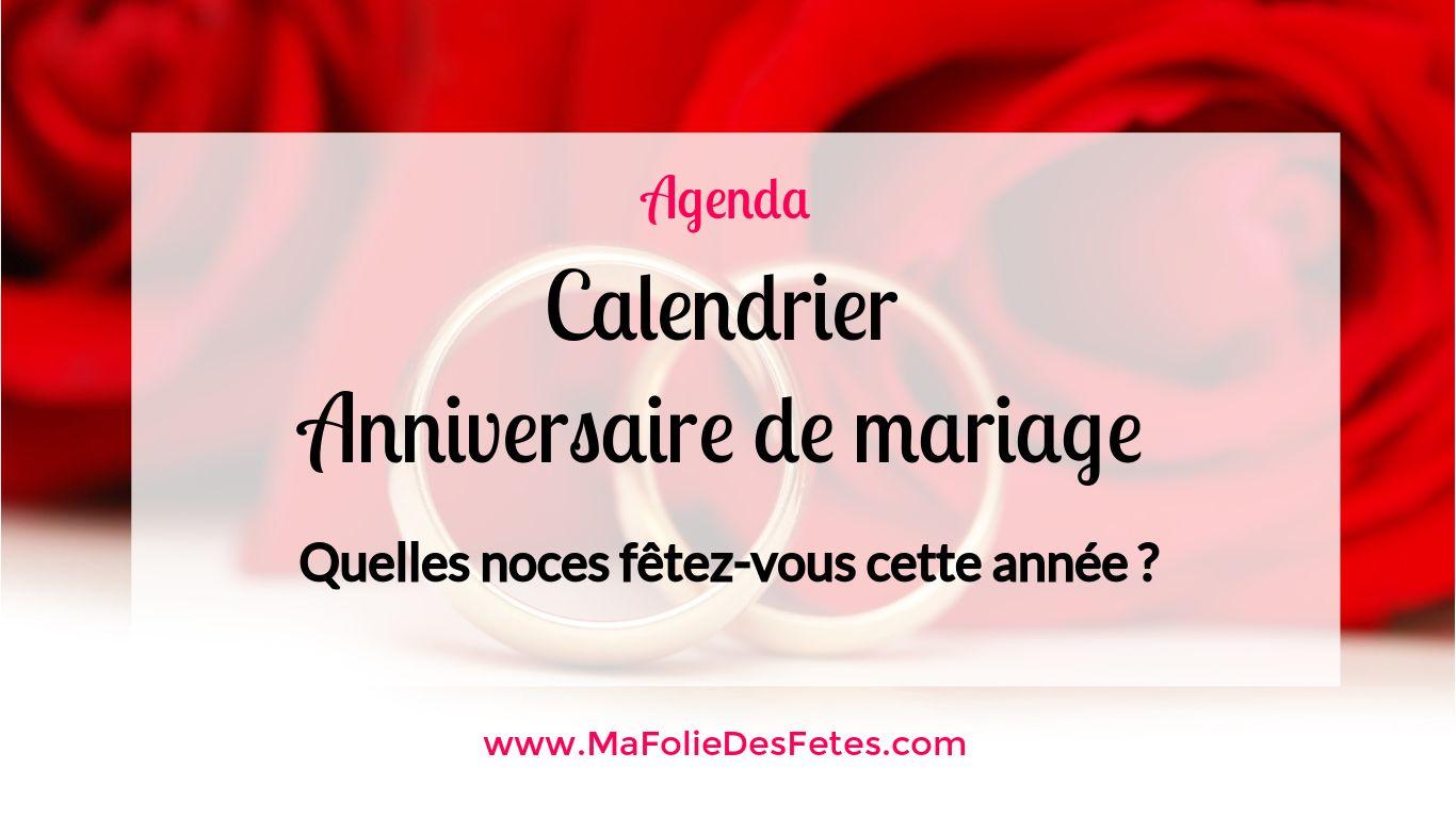 Calendrier Anniversaire de mariage - Ma Folie Des Fetes
